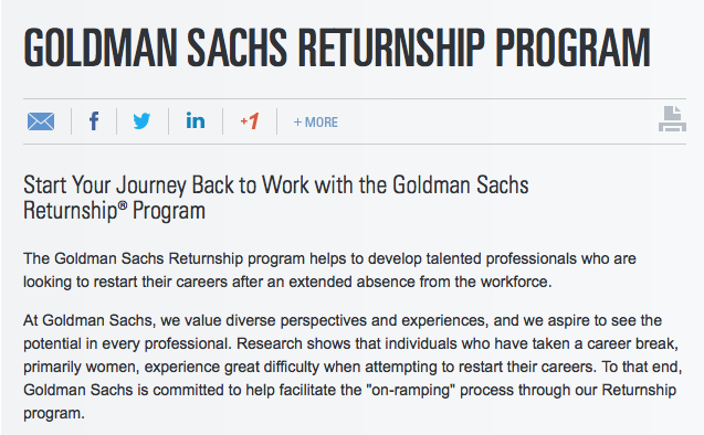 Goldman Sachs Returnship Program