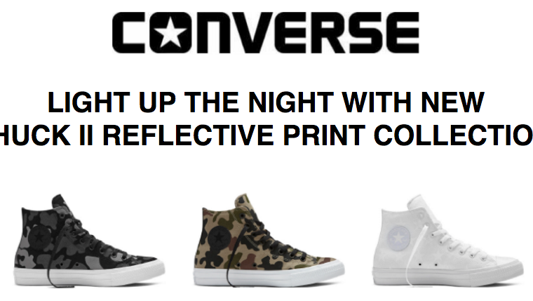 Converse – Light Up the Night with the New Chuck II Reflective Print Collection!