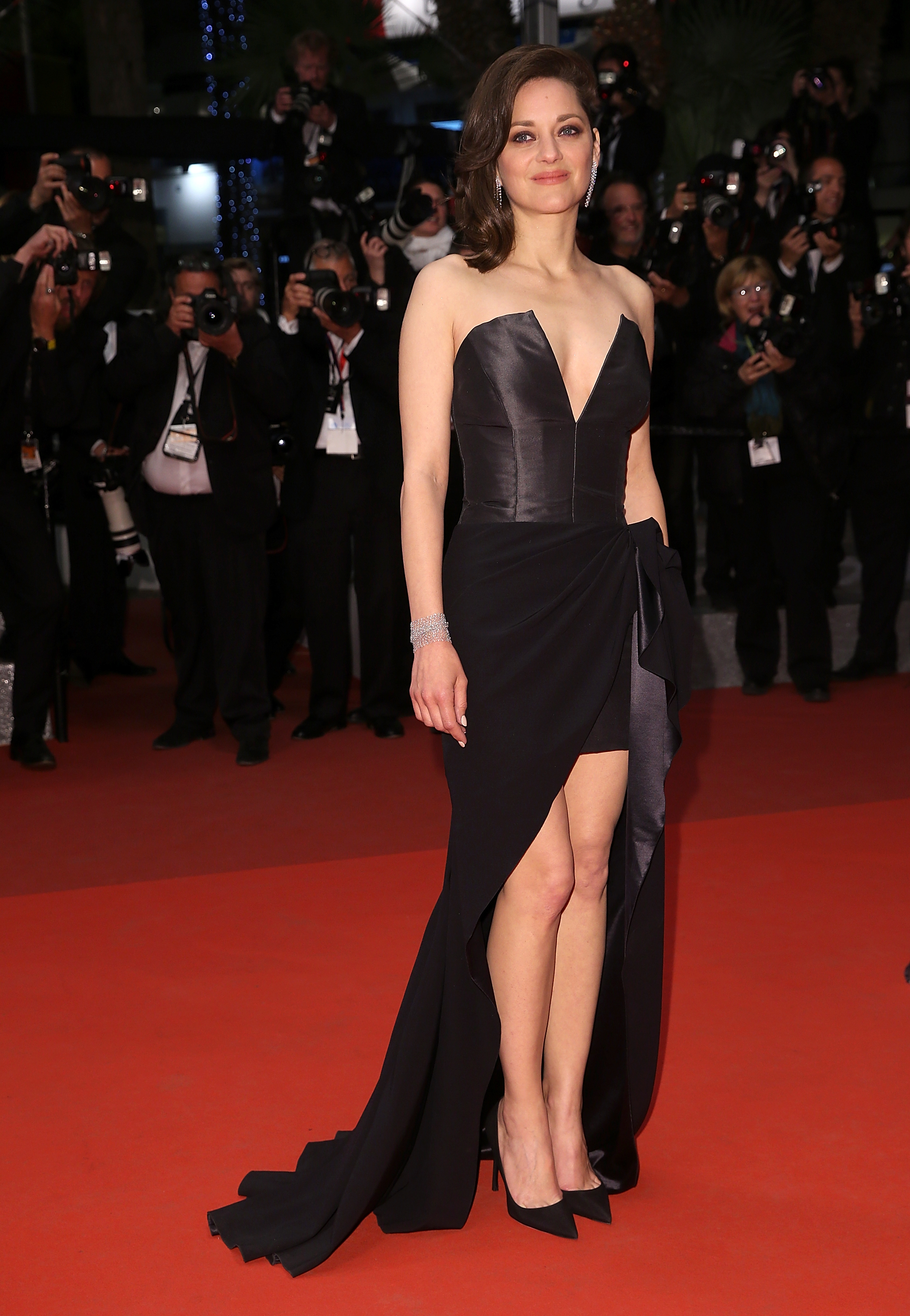 """CANNES, FRANCE - MAY 19: Marion Cotillard leaves the screening of """"It's Only The End Of The World (Juste La Fin Du Monde)"""" at the annual 69th Cannes Film Festival at Palais des Festivals on May 19, 2016 in Cannes, France. (Photo by Danny Martindale/FilmMagic)"""