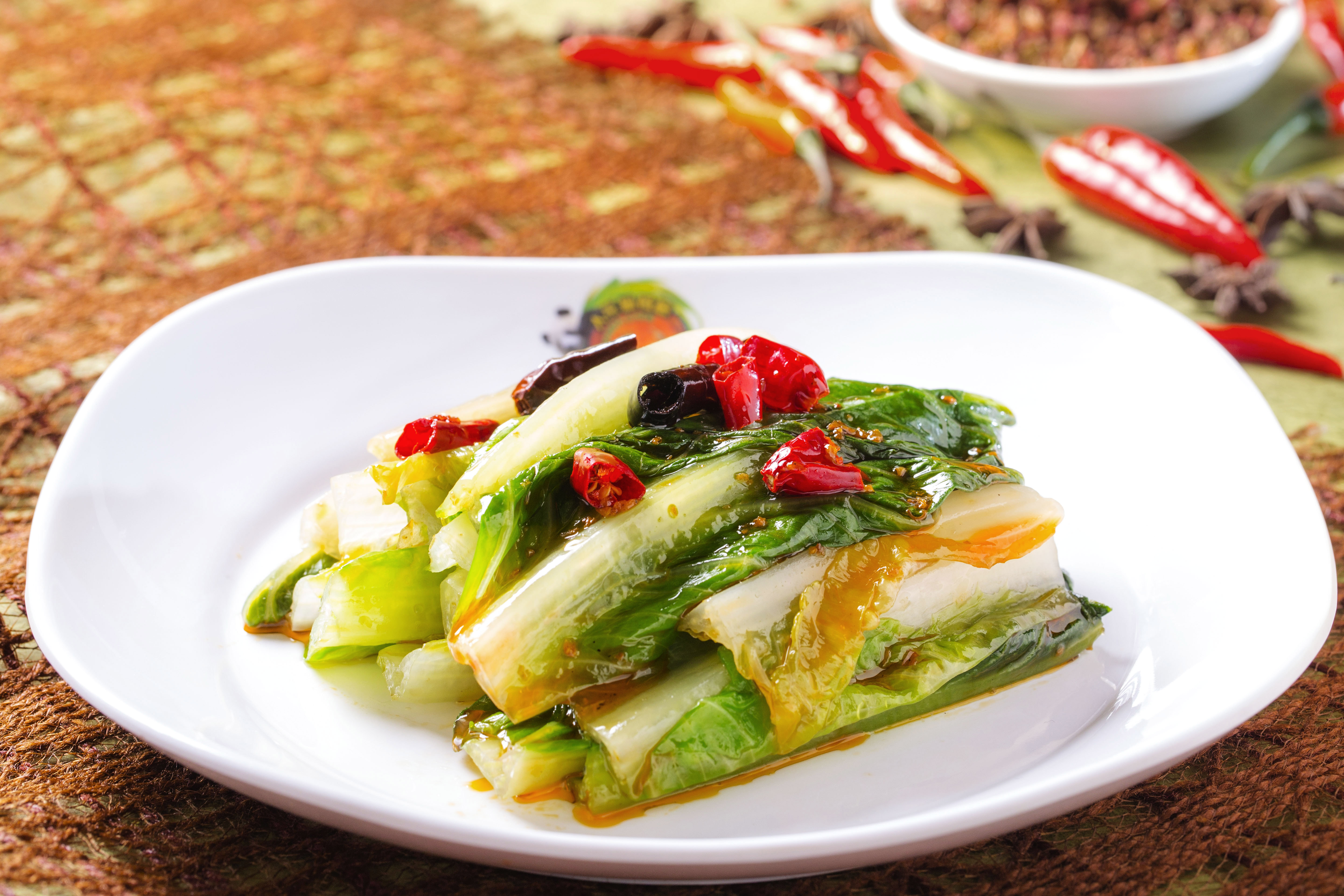 Sauteed Lettuces with Chili