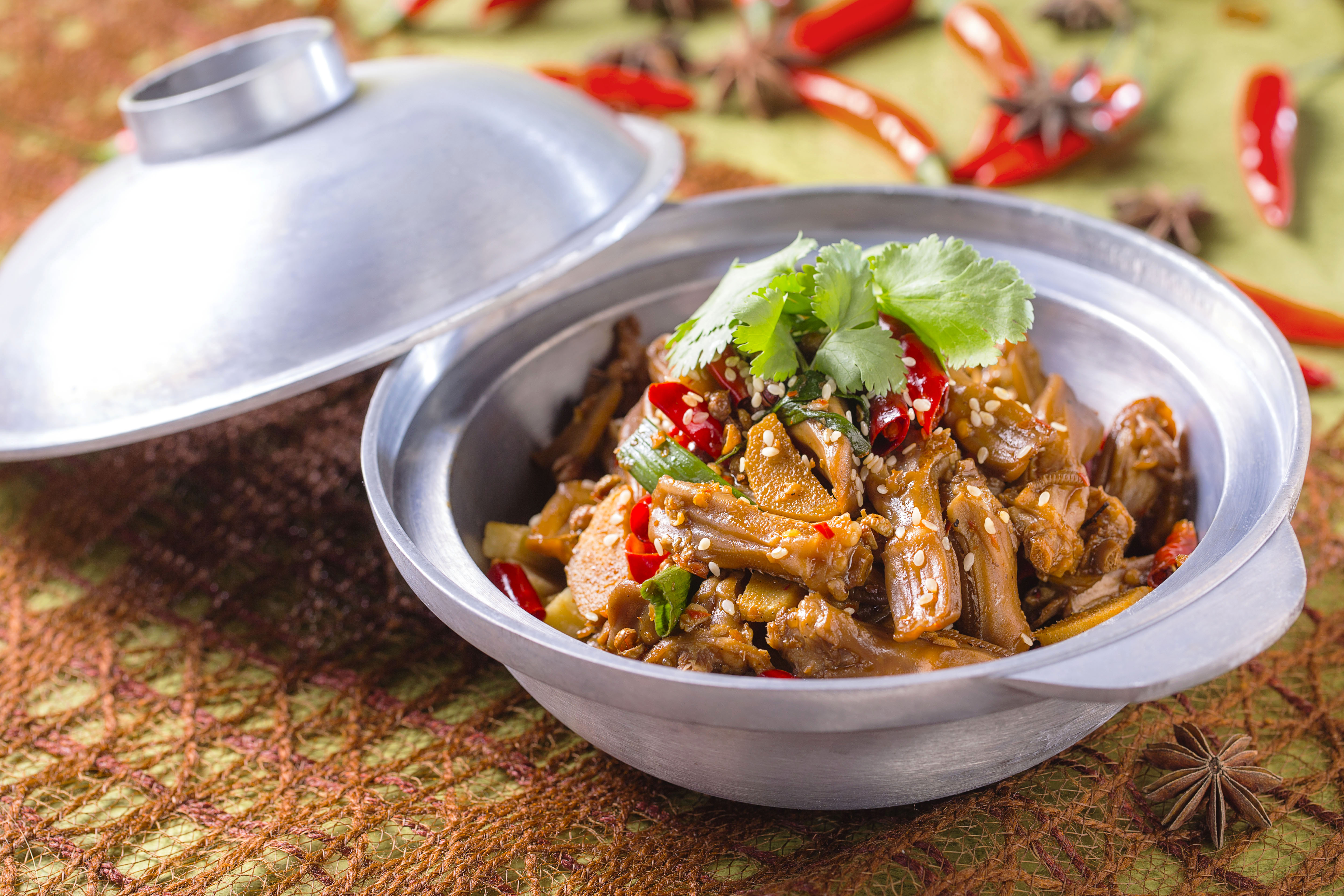 Stir-fried Marinated Duck Tongues with Sichuan Chili